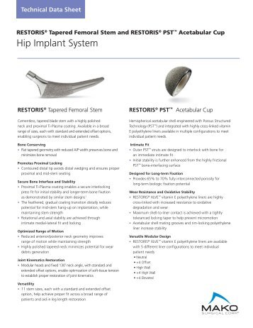 Hip Implant System - MAKO Surgical Corp.