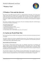 5 Windows Vista und das Internet 5.1 Surfen im World ... - GMS-KLEVE