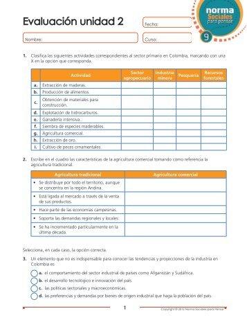 Evaluación unidad 2 - Webcolegios