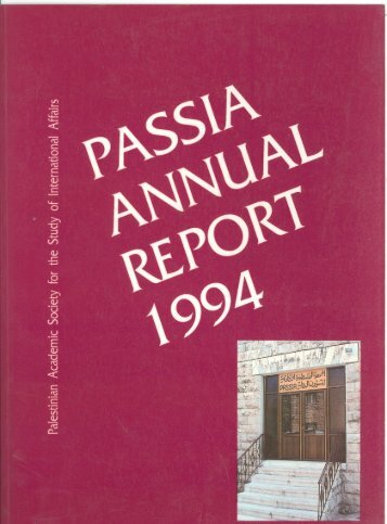 PASSLA Annual Report 1994 - PASSIA Online Store