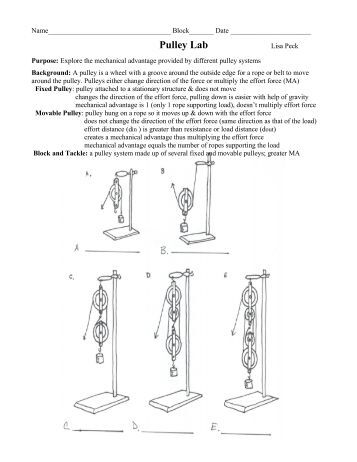 pulley worksheet. Black Bedroom Furniture Sets. Home Design Ideas