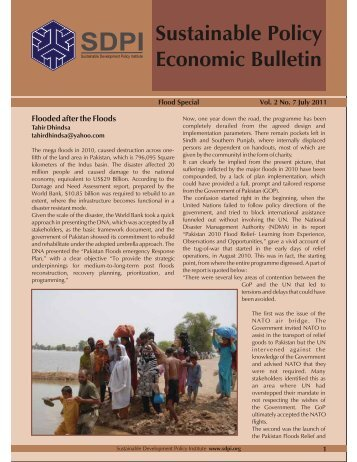 Flood Special July,2011 - Sustainable Development Policy Institute