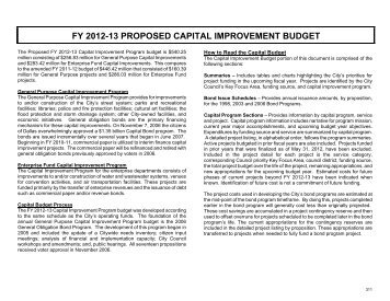 fy 2012-13 proposed capital improvement budget - City of Dallas
