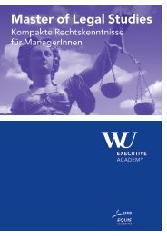 Broschüre: Master of Legal Studies - WU Executive Academy