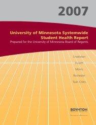 2007 University of Minnesota Systemwide Student Health Report