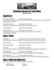 Edelweiss Restaurant Lunch Menu - German-American Klub