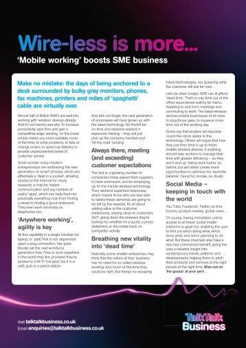 'Mobile working' boosts SME business - TalkTalk Business