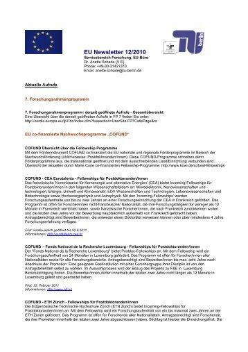 EU Newsletter 5/2009 - Abteilung V - TU Berlin