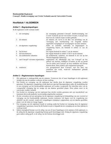 Huidig Huishoudelijk Reglement - Studievereniging ConcepT