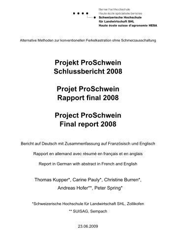 Projekt Proschwein Synthesebericht Projet Proschwein Rapport De