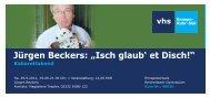 """Jürgen Beckers: """"Isch glaub' et Disch!"""" - VHS Ennepe-Ruhr-Süd"""
