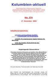 Kolumbien-aktuell No. 374 / 17. Dezember 2003