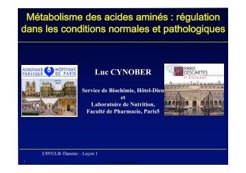 Métabolisme des acides aminés : régulation dans ... - Danone Institute