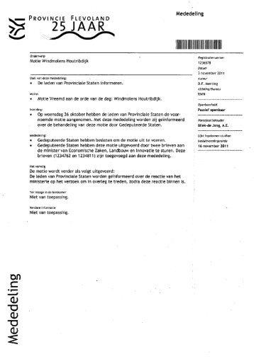afhandeling van de motie windmolens Houtribdijk - Provinciale ...