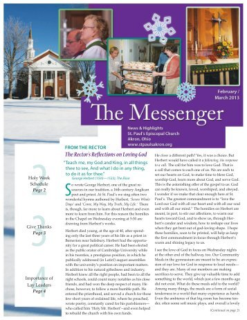 February-March messenger 2013 Edition - St. Paul's Episcopal Church