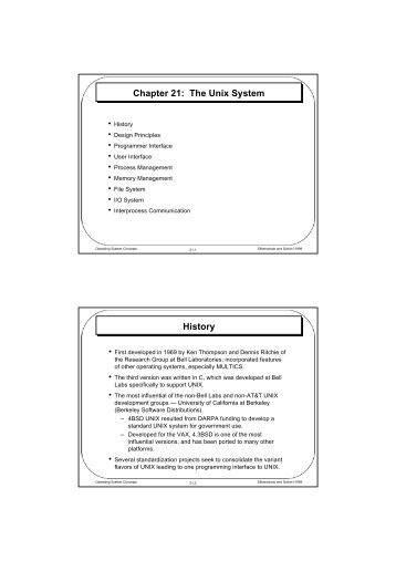 Chapter 21: The Unix System History - Parent Directory