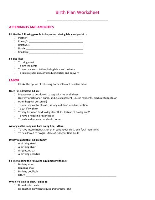 Birth Plan Worksheet - SheKnows.com