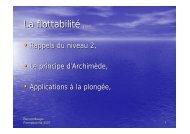 La flottabilité plan - Jacquet Stephan