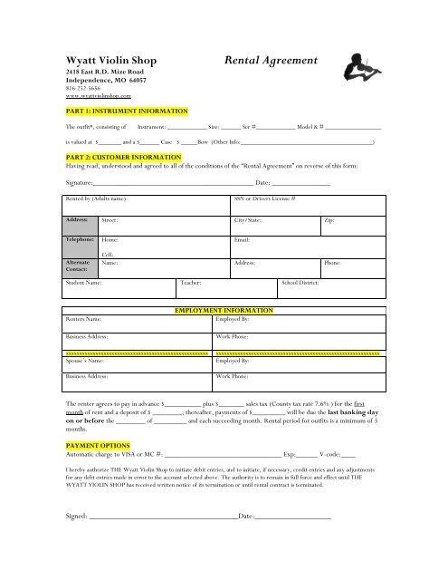 Rental Agreement Wyatt Violin Shop