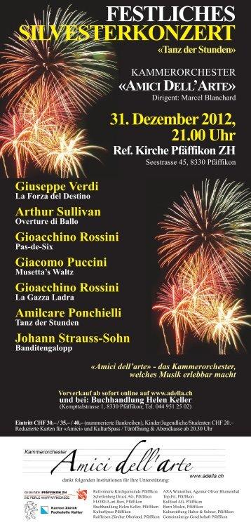 Konzertflyer - Kammerorchester «Amici dell'arte