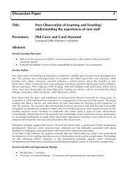 Peer Observation of Learning and Teaching - Seda