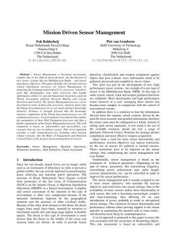 Mission Driven Sensor Management - Information Fusion 2004