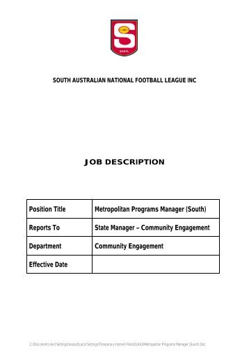 job description for catering manager