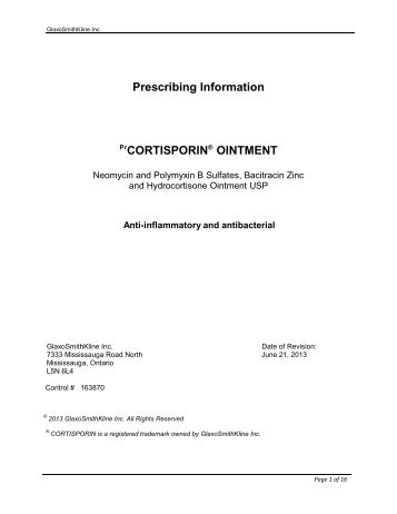 Cortisporin Ointment - GlaxoSmithKline