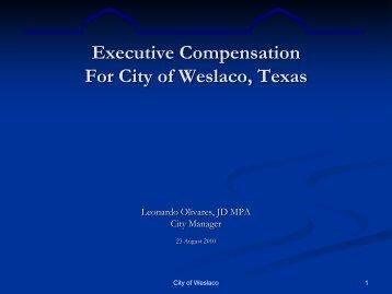 Executive Compensation For City of Weslaco, Texas