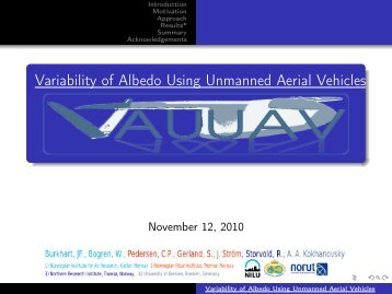 Variability of Albedo Using Unmanned Aerial Vehicles - NILU