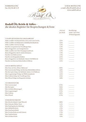 gelangen Sie zu unserem Catering-Bestellformular! - Rudolf Ölz