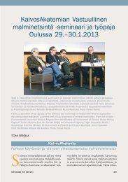 seminaari ja työpaja Oulussa 29.–30.1.2013 - Suomen Geologinen ...