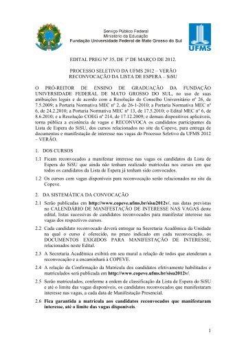 Sistema de Seleção Unificado 2012 - Verão - copeve - ufms