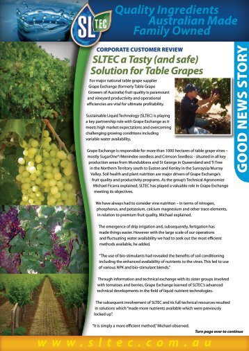 (and Safe) Solution for Table Grapes - Sustainable Liquid Technology