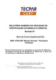 Relatório sumário da certificação do manejo florestal. - Tecpar