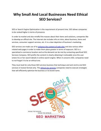 Why Small And Local Businesses Need Ethical SEO Services?