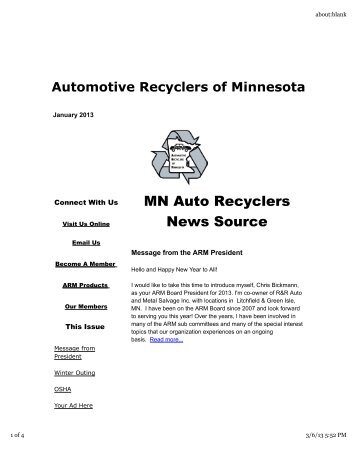 mn auto recyclers news source automotive recyclers of minnesota. Black Bedroom Furniture Sets. Home Design Ideas