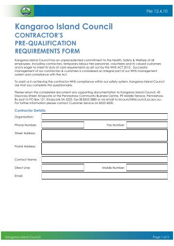 Contractor HSE Pre Qualification