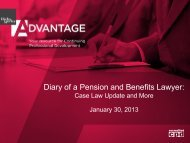Diary of a Pension and Benefits Lawyer: - Hicks Morley