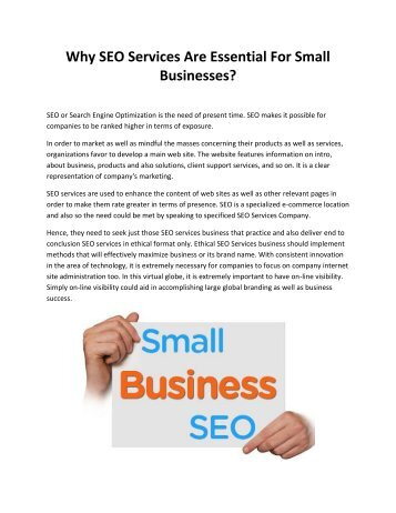 Why SEO Services Are Essential For Small Businesses?