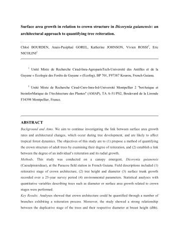 Dicorynia guianensis growth rates and architectural stage of ...