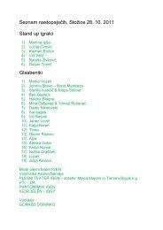 Seznam nastopajočih, Stožice 28. 10. 2011 Stand up igralci ...