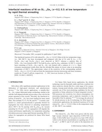 Interfacial reactions of Ni on Si 1-x Ge x (x= 0.2, 0.3) at low ...