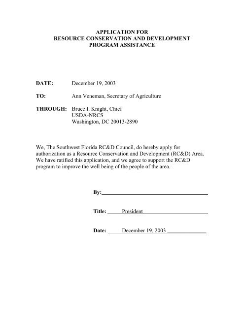 application for - Southwest Florida Regional Planning Council