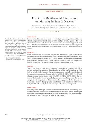 Effect of a Multifactorial Intervention on Mortality in Type 2 Diabetes