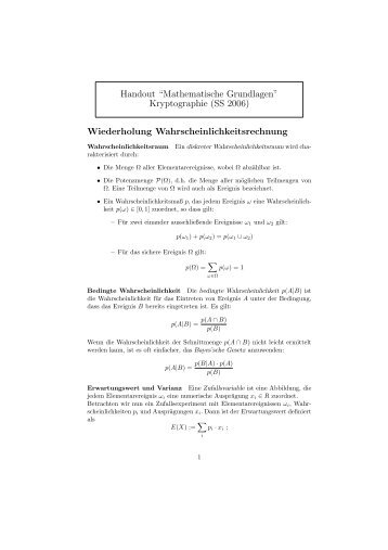 """Handout """"Mathematische Grundlagen"""" Kryptographie (SS 2006 ..."""