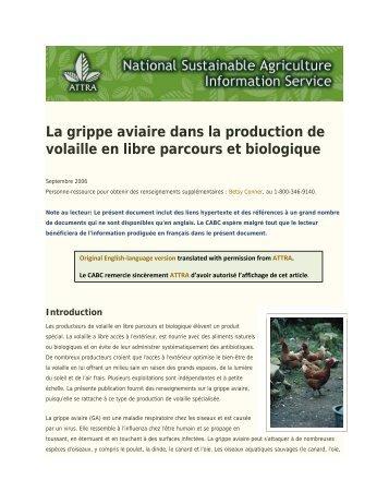 La grippe aviaire dans la production de volaille en libre parcours et ...