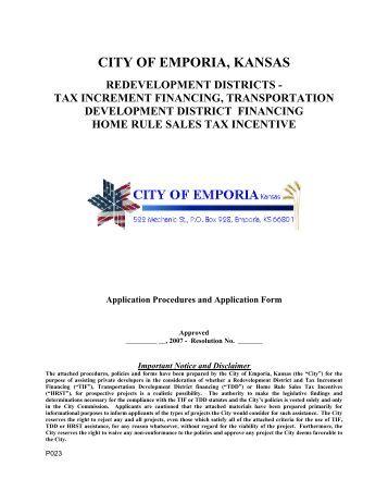 Tax Increment Financing - Emporia RDA