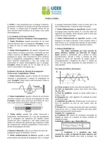 Apostila de Física - Ondulatória - 1º EM - liceu.net