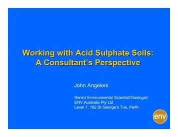 Working with Acid Sulphate Soils: A Consultant's Perspective